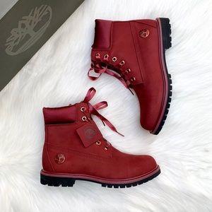 """Timberland Premium 6"""" Waterproof Burgundy Boots"""
